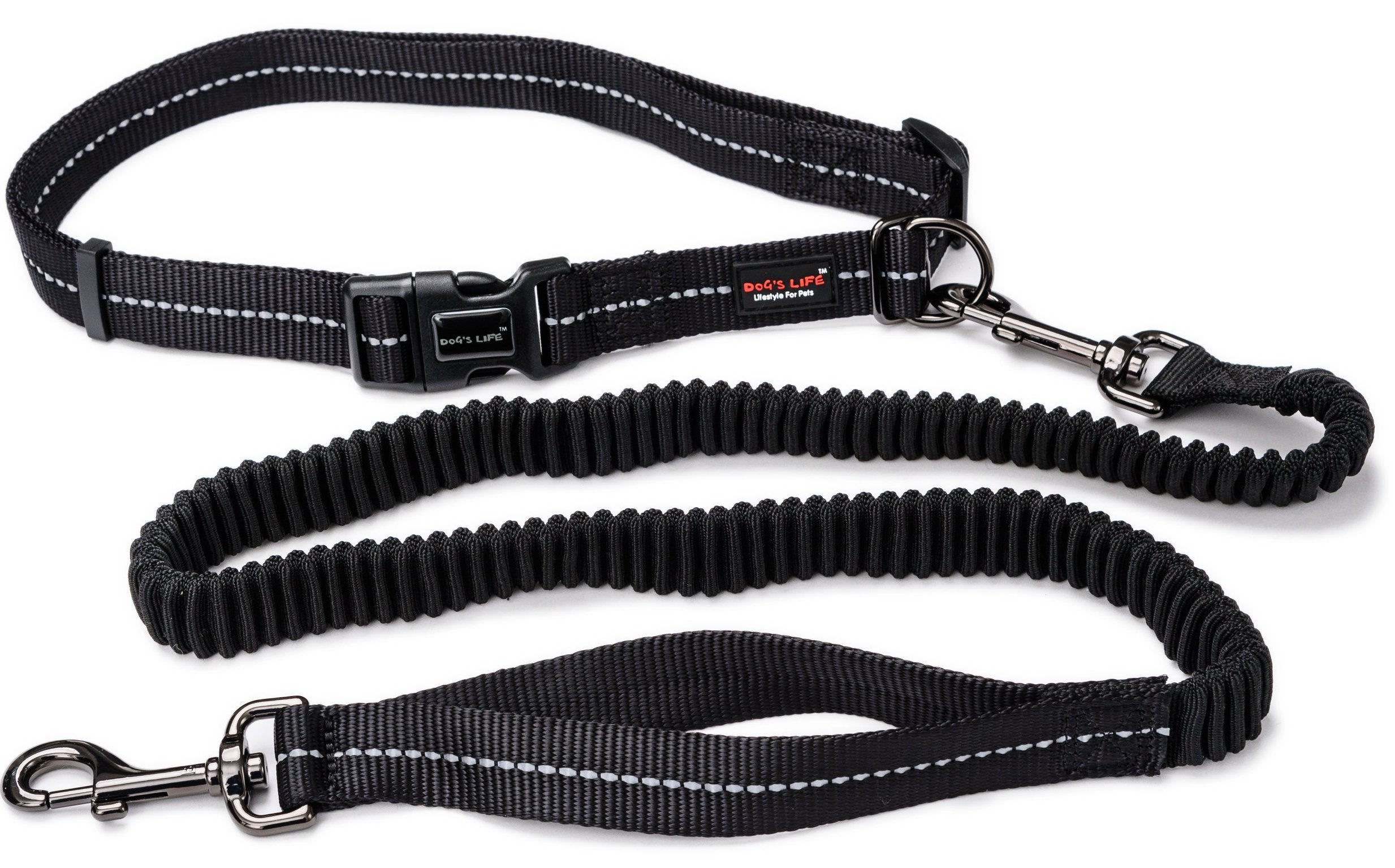 Dog's Life durable long lasting leash for people that excercise with their dogs, rflective supersoft running leash, dog leash for running, durable reflective leash