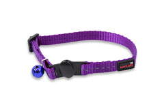 reflective nylon purple cat collar with bell