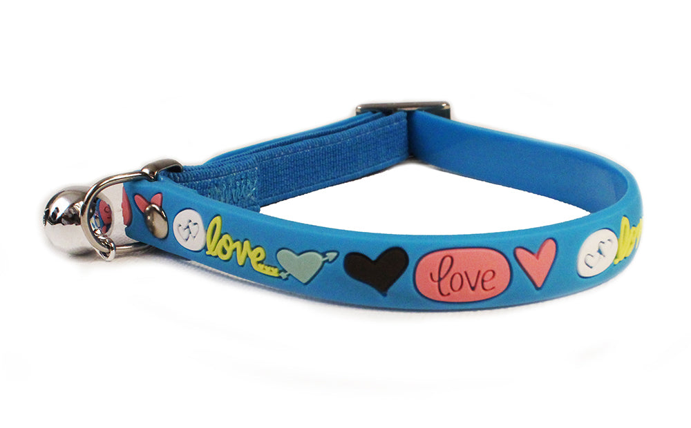 Cat's Life elastic PVC blue safety collar with bell