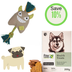 Dog's Life Dog Toy plus Raw Love Health Treats for dogs