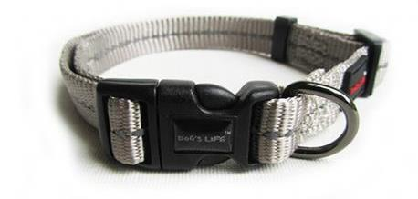Dog's Life Dog Collar Grey - Reflective, super soft and strong!