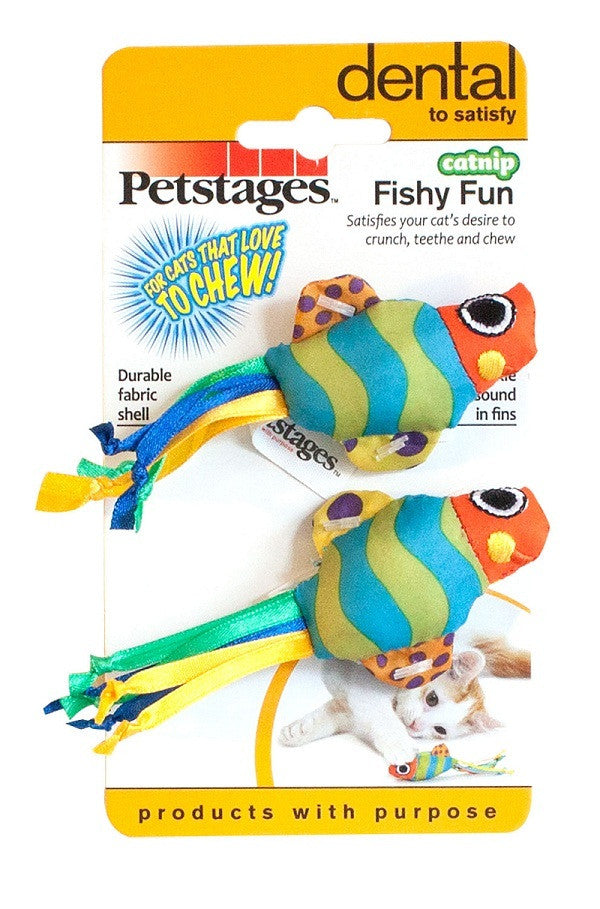 Petstages Catnip Chew Fishy Fun - Fun AND good for dental health too!