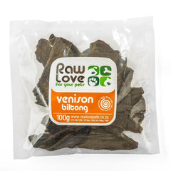 Raw Love healthy venison biltong treats for dogs cats