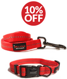 Dog Accessory Combo Pack: Red Collar + Red Leash (SAVE 10%)