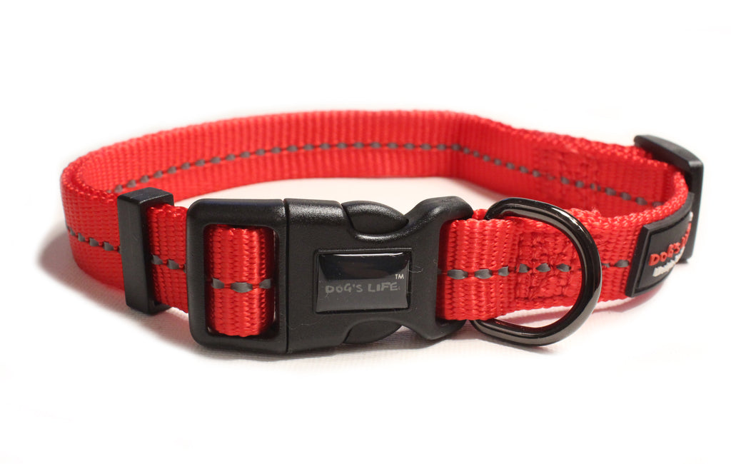 Dog's Life Reflective Supersoft Webbing Collar (Red)