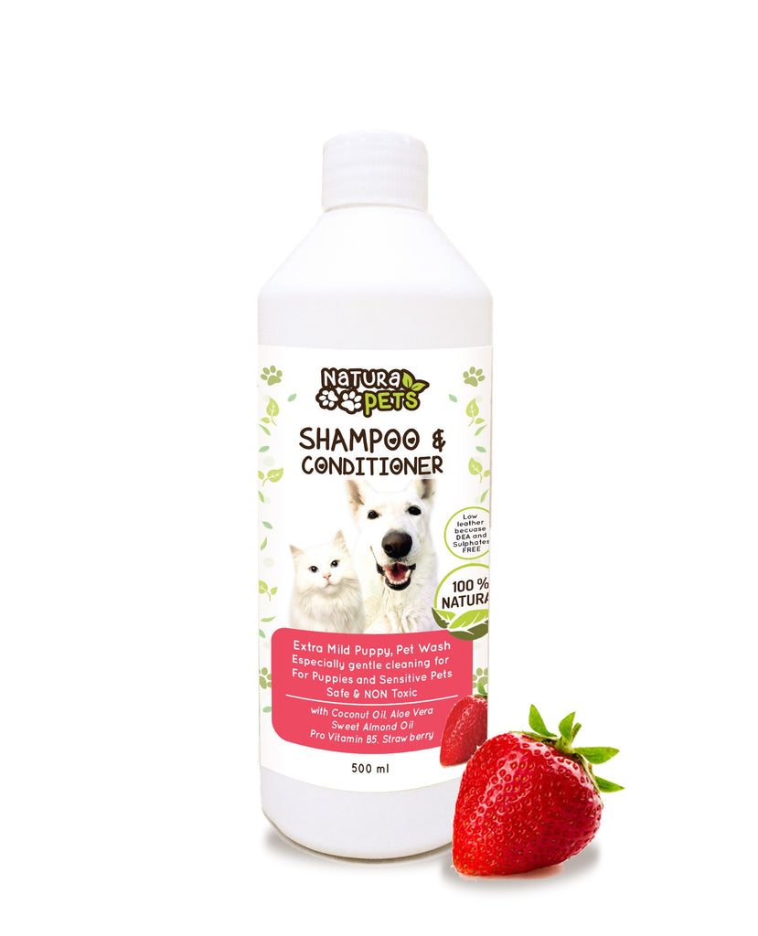 Natura Pets Natural Strawberry Shampoo & Conditioner for Puppies