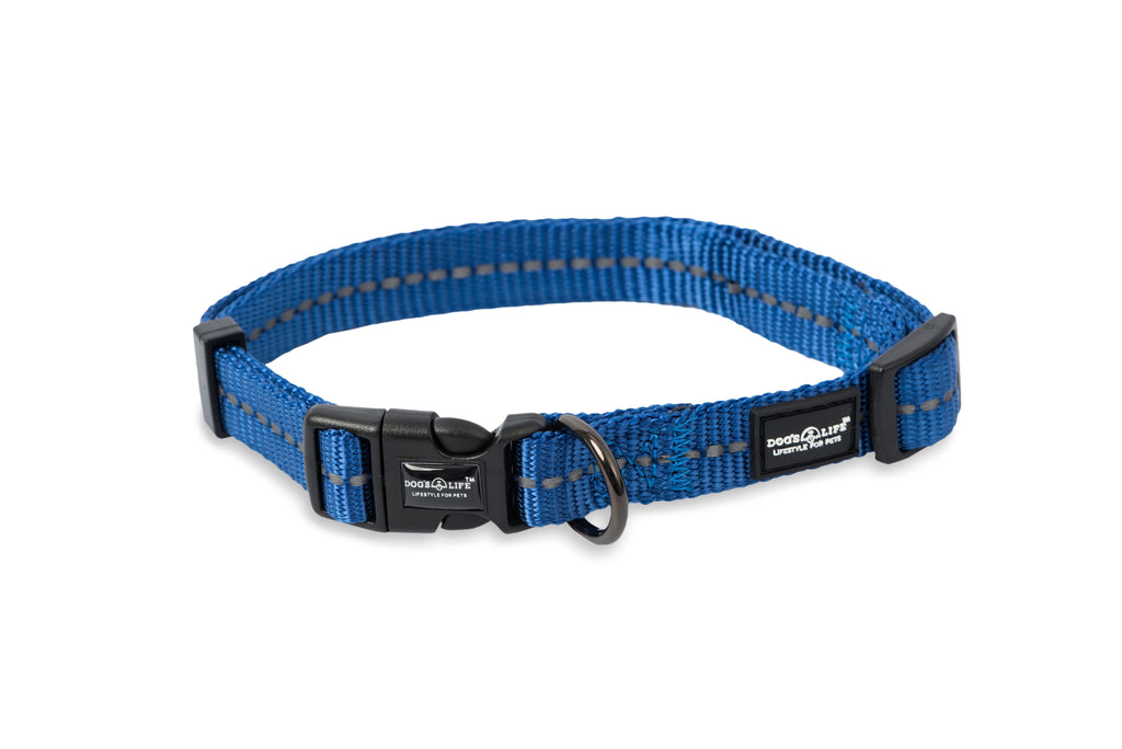Dog's Life Reflective Supersoft Webbing Collar (Blue)