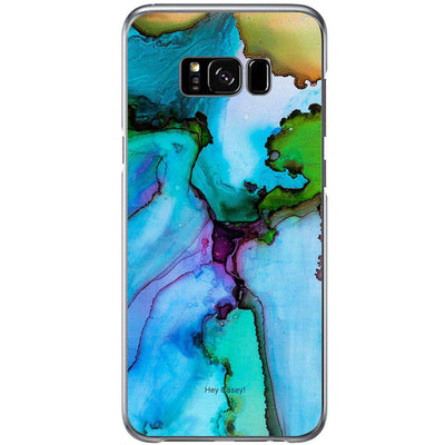 Hey Casey! Blue Ink Marble Phone case covers for iPhone, Samsung, LG, Huawei