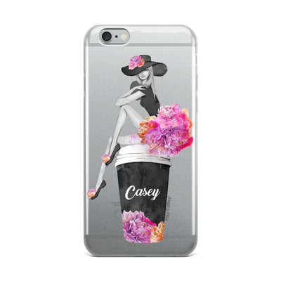 Hey Casey! Girl Sitting on Coffee Cup Phone case covers for iPhone, Samsung, LG, Huawei