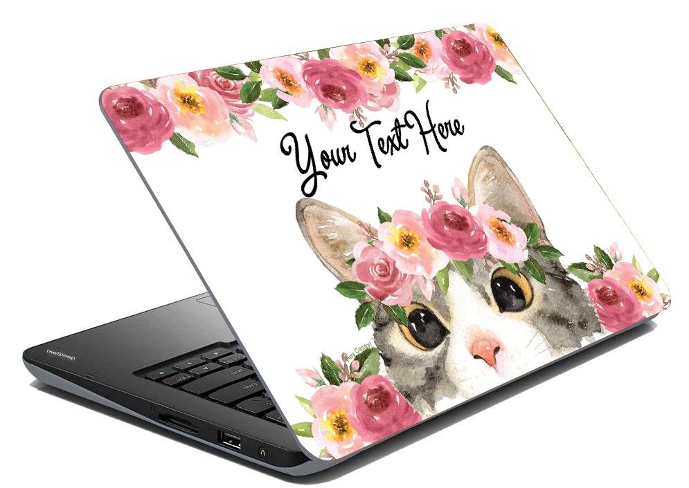 Floral Kitty Laptop Skin