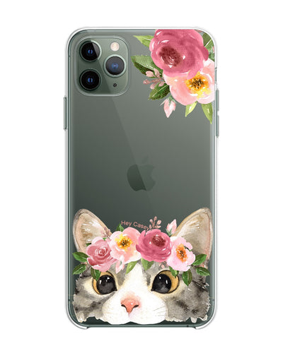 Hey Casey! Floral Kitty Phone case covers for iPhone, Samsung, Huawei