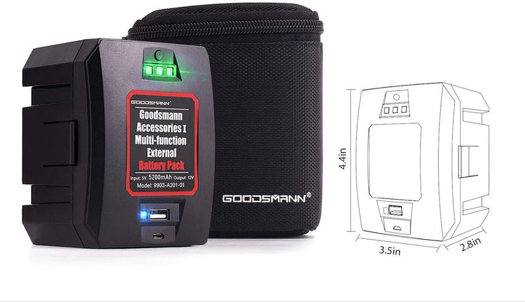 GOODSMANN Portable Battery for Rechargeable 12V Spotlights Flashlights with USB Cable and Storage Bag 9903-A201-01