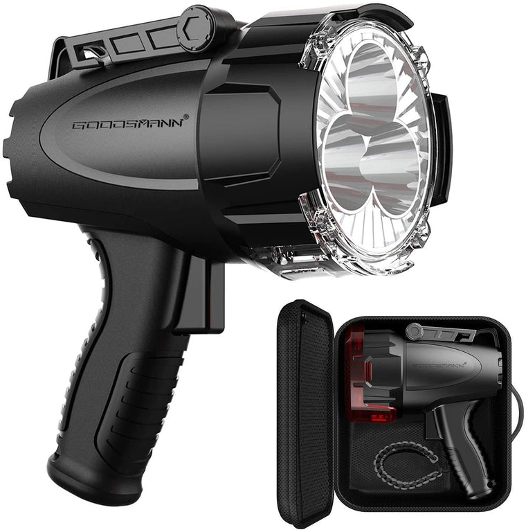 GOODSMANN Spotlight 6000 Lumen Boat Spotlight Waterproof Rechargeable Marine Spotlight LED Hunting Spotlight with Detachable Red Light Filter, EVA Carrying Case 9903-C102-01