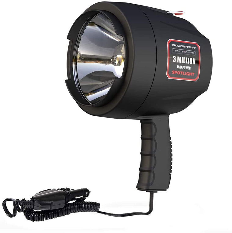 GOODSMANN Tacticpro Powerful 1200 Lumen Bright Portable High Intensity Halogen Flood/Spotlight Offroad Automotive/Garage /Emergency/ Boating/Fishing/Hunting/Camping/Hiking/Patrolling 9924-0011-15