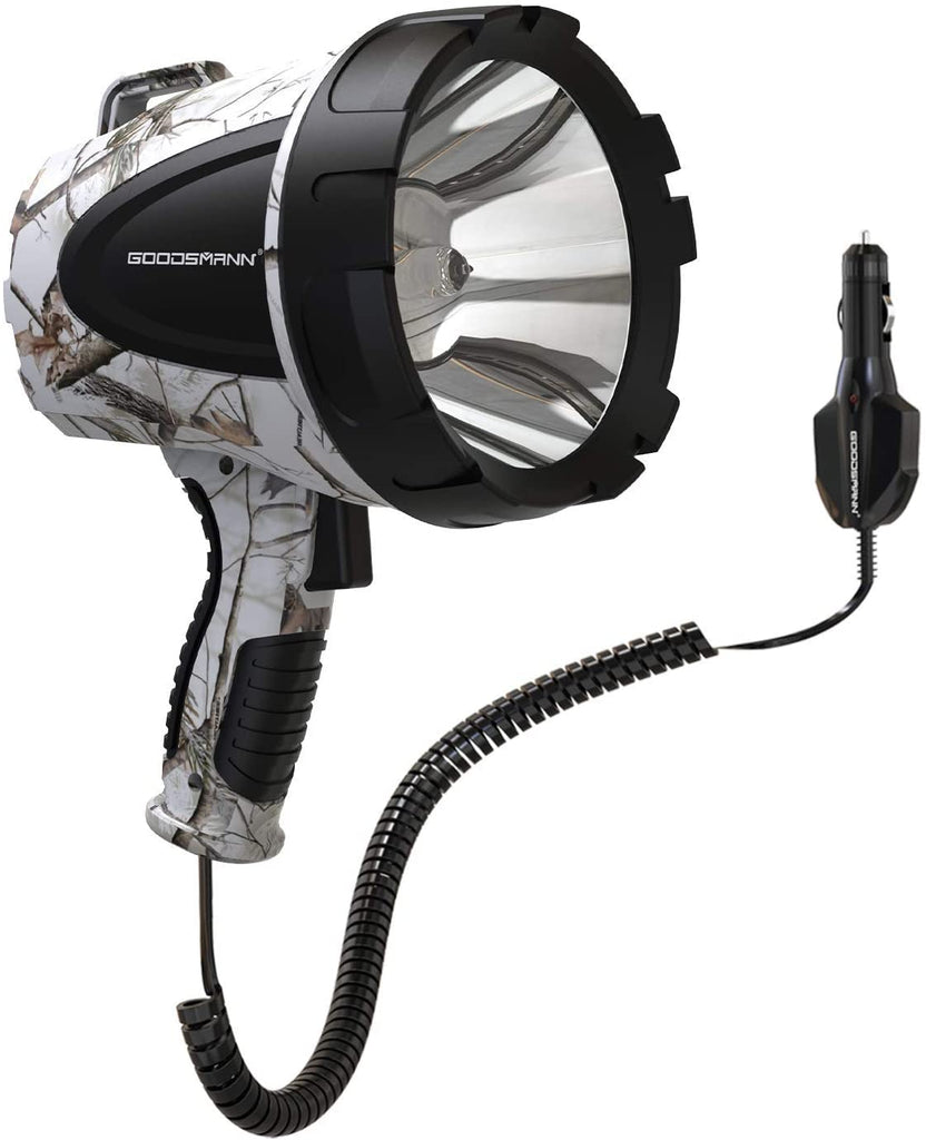 GOODSMANN Spotlight Camo Hunting Spot Lights 12 Volt Marine Spotlight Tacticpro 1500 Lumen Realtree AP-Snow Halogen Spotlighting 9924-H102-02