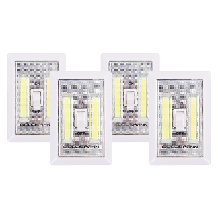 Goodsmann LED Night Light Wall Light Emergency Lights Switch Cordless Portable Closet Light Multi-Use Self-Stick Battery Operated Night Wall Light, 4 Pack 9924-0011-12 - Venus Manufacture