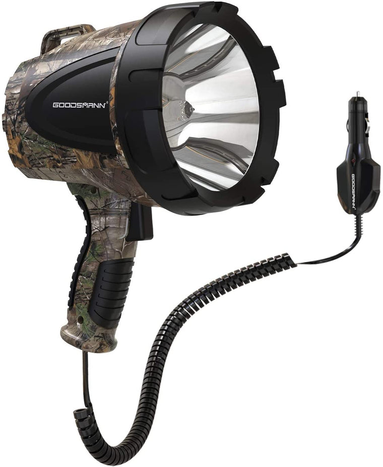 GOODSMANN Spotlight Camo Hunting Spot Lights 12 Volt Marine Spotlight Tacticpro 1500 Lumen Realtree Xtra Halogen Boat Spotlighting 9924-H102-01