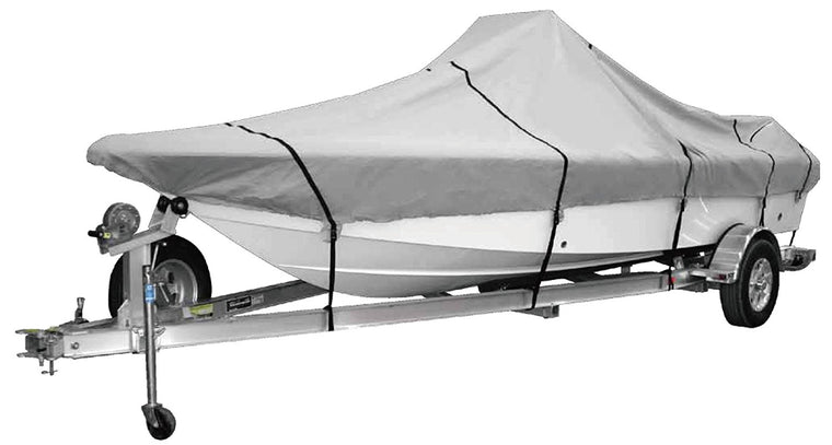 "Goodsmann 600 Denier boat cover,water resistant,weather protection,trailerable,Silver Poly, Center Console Covers 9921-0132-31(A Fits 17'-19' V-Hull Boats, Beam width to 96"") - Venus Manufacture"