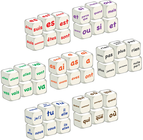 Complete French word dice class set