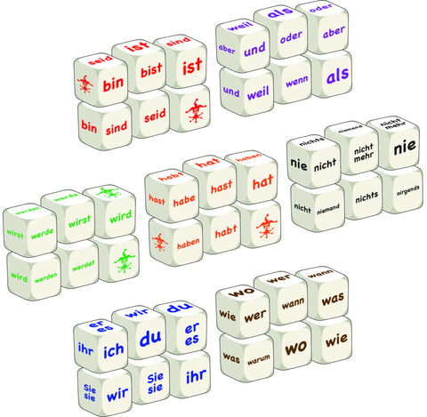 Complete German word dice class set
