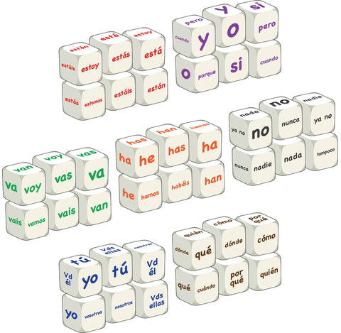 Complete Spanish word dice class set
