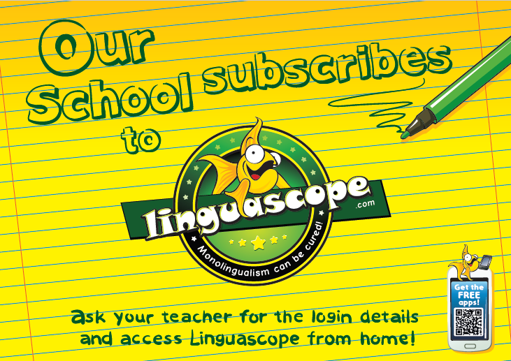 """Our school subscribes to Linguascope"" poster (downloadable product)"