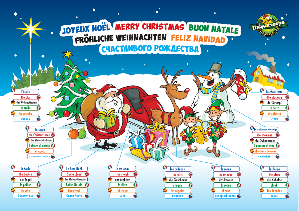 Multilingual Christmas poster (downloadable product)