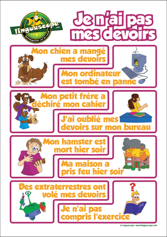 """Je n'ai pas mes devoirs"" poster (downloadable product)"