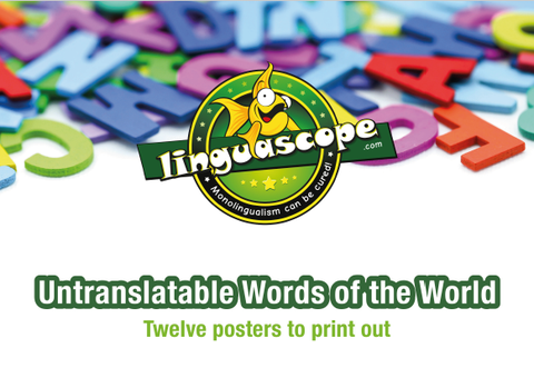 "Pack of 12 printable posters on ""Untranslatable Words of the World"" (downloadable product)"
