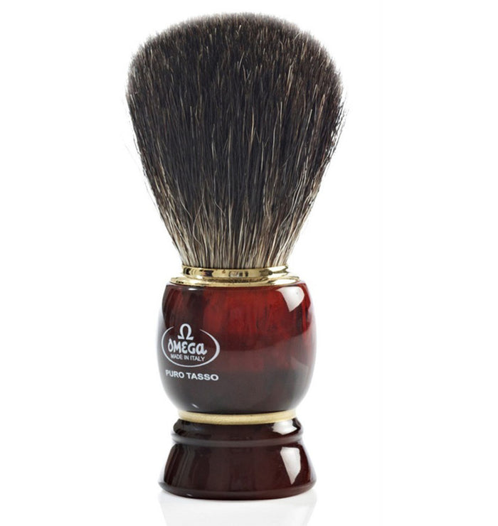 "OMEGA SHAVE BRUSH ""BADGER"" T'SHELL - Stubbles Australia"