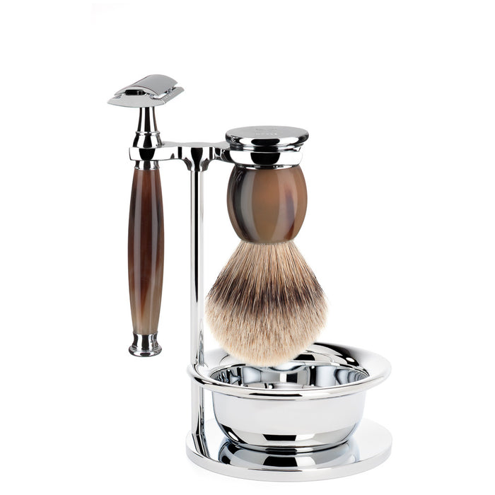 MÜHLE Sophist 4 Piece Safety Razor Shaving Set - Genuine Horn - Stubbles Australia