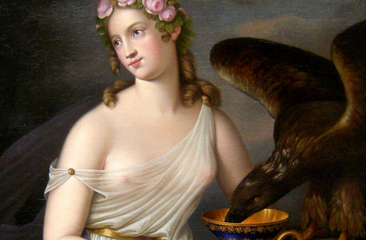Goddess of Youth and Cupbearer Hebe and Eagle of Zeus