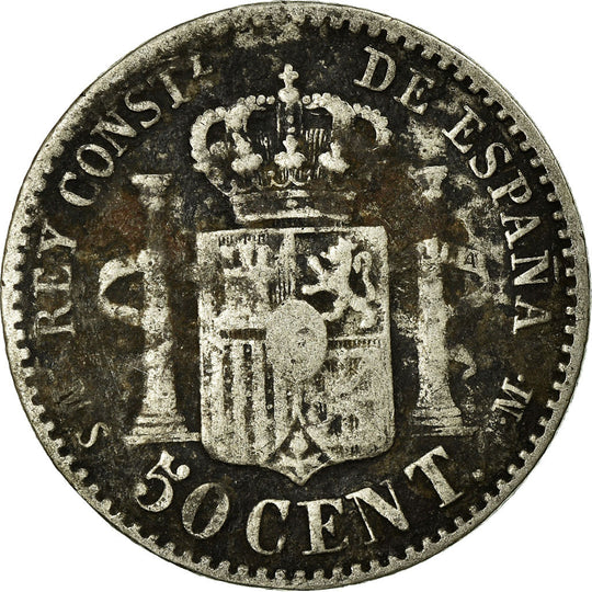 Monnaie, Espagne, Alfonso XII, 50 Centimos, 1880, Madrid, TB+, Argent, KM:685