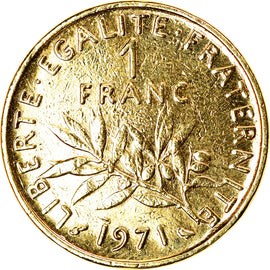 Monnaie, France, Semeuse, Franc, 1971, Paris, gold-plated coin, TTB+, Nickel