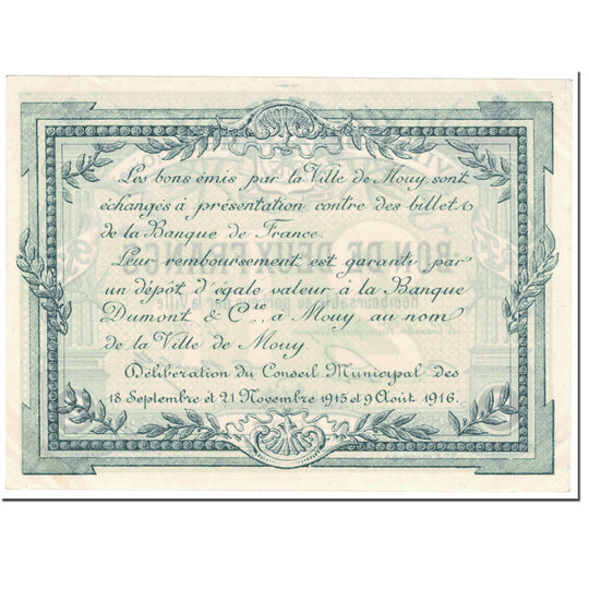 France, Mouy, 2 Francs, 1916, SUP, Pirot:60-54