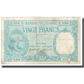 France, 20 Francs, Bayard, 1916, 1916-11-03, TB, KM:74