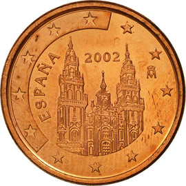 Espagne, 5 Euro Cent, 2002, SPL, Copper Plated Steel, KM:1042