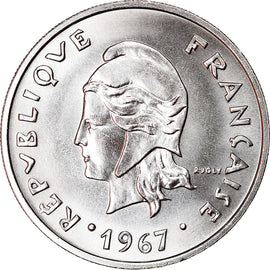 Monnaie, French Polynesia, 20 Francs, 1967, Paris, SPL, Nickel, KM:6