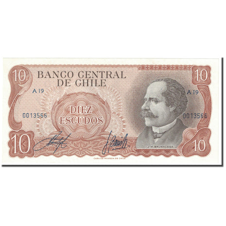 Billet, Chile, 10 Escudos, 1967, Undated (1967), KM:143, NEUF
