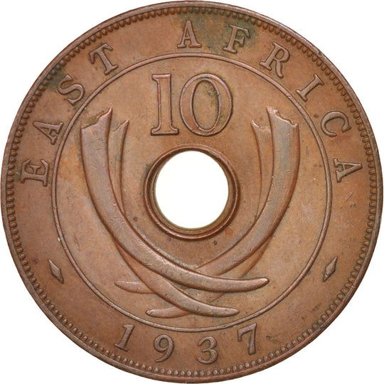 Monnaie, EAST AFRICA, George VI, 10 Cents, 1937, SUP, Bronze, KM:26.1