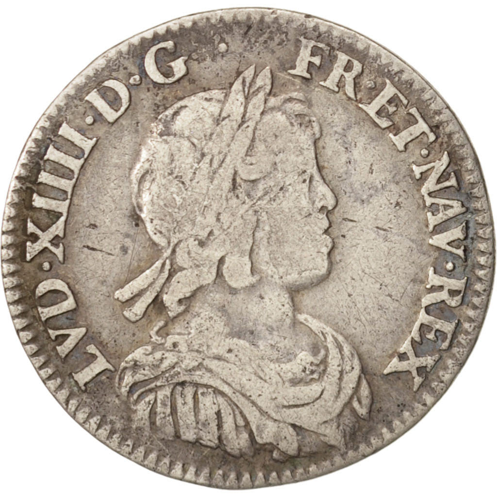 France, Louis XIV, 1/12 ECU, 10 Sols, 1644, Paris, KM:140.1