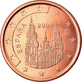 Espagne, 5 Euro Cent, 2000, TTB+, Copper Plated Steel, KM:1042
