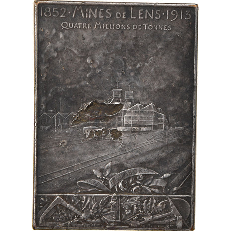 France, Médaille, Les Mines de Lens, Business & industry, 1913, Roty, TB