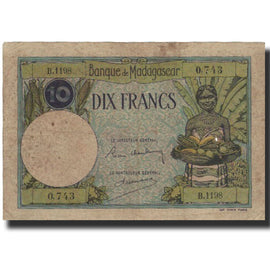 Billet, Madagascar, 10 Francs, Undated (1937-47), KM:36, TB