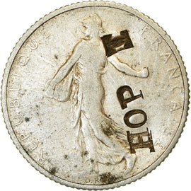 "Monnaie, France, Semeuse, Franc, 1918, Paris, countermark ""HOPE"", TTB, Argent"