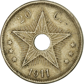 Monnaie, Congo belge, 20 Centimes, 1911, TB+, Copper-nickel, KM:19