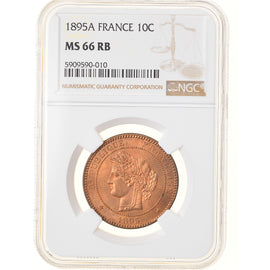 Monnaie, France, Cérès, 10 Centimes, 1895, Paris, NGC, MS66RB, FDC, Bronze