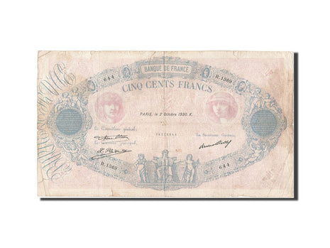 France, 500 Francs, 500 F 1888-1940 ''Bleu et Rose'', 1930, 1930-10-02, KM:66...