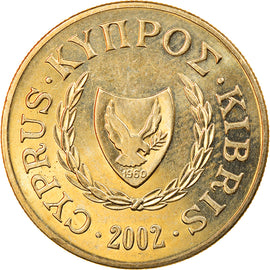 Monnaie, Chypre, 10 Cents, 2002, SUP, Nickel-brass, KM:56.3