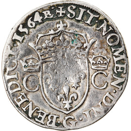 Monnaie, France, Charles IX, Teston, 1564, Poitiers, TB+, Argent, Sombart:4604